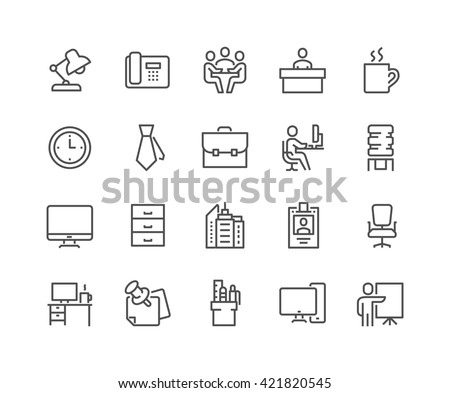 Simple Set of Office Related Vector Line Icons.  Contains such Icons as Business Meeting, Workplace, Office Building, Reception Desk and more.  Editable Stroke. 48x48 Pixel Perfect.  - stock vector