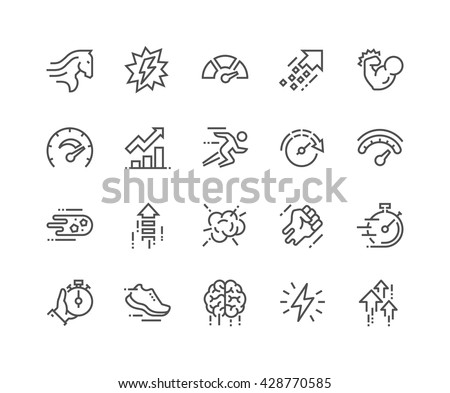 Simple Set of Performance Related Vector Line Icons.  Contains such Icons as Power, Speed, Graph, Sprint, Boost, Brain, Gain and more.  Editable Stroke. 48x48 Pixel Perfect.  - stock vector