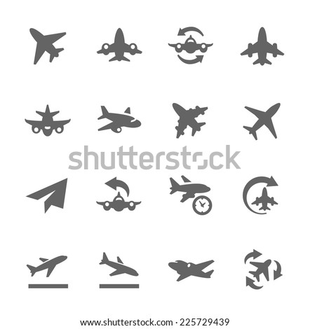 Simple Set of Planes Related Vector Icons for Your Design. - stock vector