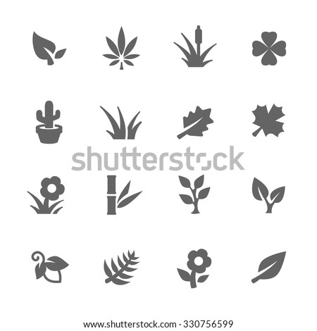 Simple Set of Plants Related Vector Icons for Your Design. - stock vector