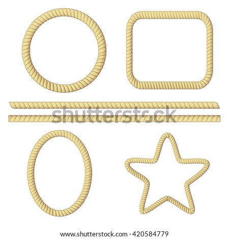 simple set of rope border on white background - stock vector