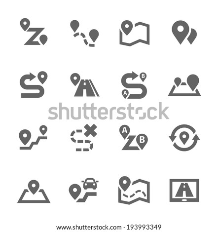 Simple Set of Route Related Vector Icons for Your Design - stock vector