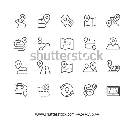 Simple Set Route Related Vector Line Stockvector 424419574