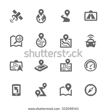 Simple Set of Satellite Navigation Related Vector Icons for Your Design. - stock vector