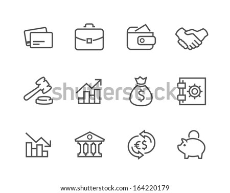 Simple set of stroked financial related vector icons for your design. - stock vector