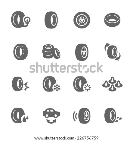 Simple Set of Tire Related Vector Icons for Your Design. - stock vector