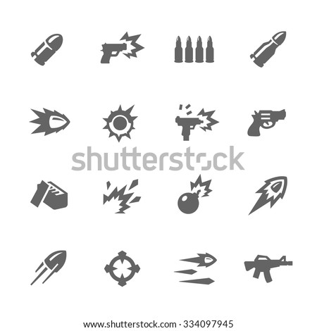 Simple Set of Weapon Related Vector Icons for Your Design. - stock vector