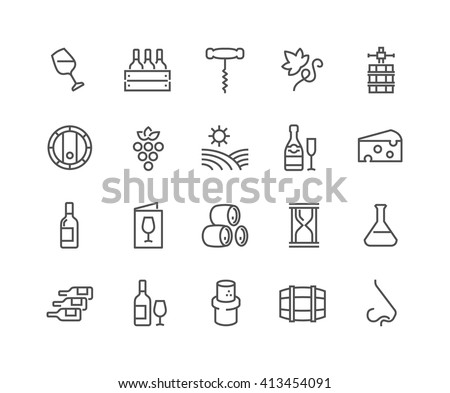 Simple Set of Wine Related Vector Line Icons.  Contains such Icons as Wine Press, Winery, Nose, Cork, Cheese, Menu Vineyard and more.  Editable Stroke. 48x48 Pixel Perfect.  - stock vector