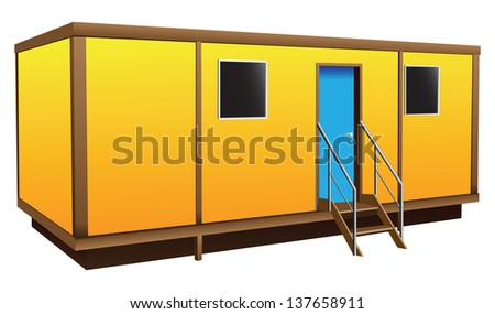 Simple shield Mobile home for temporary residence. Vector illustration. - stock vector