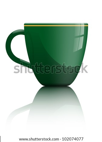 simple shiny green tea or coffee cup isolated on white for use on samples of logo  or text fit