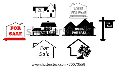 Simple Signs for Selling House - stock vector