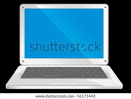 Simple silver laptop with blue screen on black background, vector illustration - stock vector