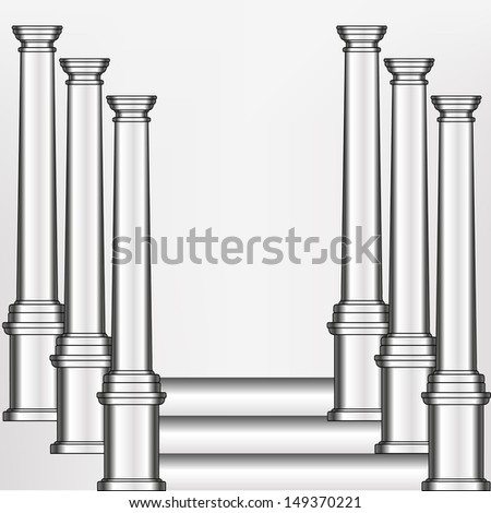 simple silver model of the old Greek column in an abstract arrangement on illustration