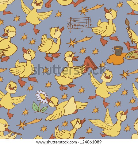 simple simples  with cartoon ducks background - stock vector