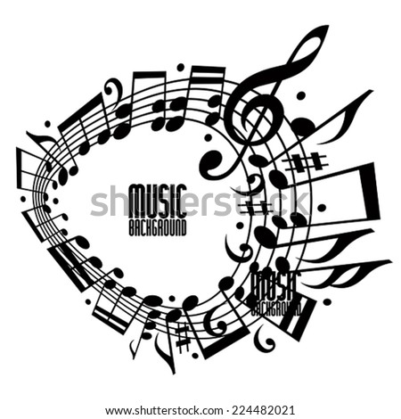 Simple single color music background with notes and clef, music template with copy space fore your design.