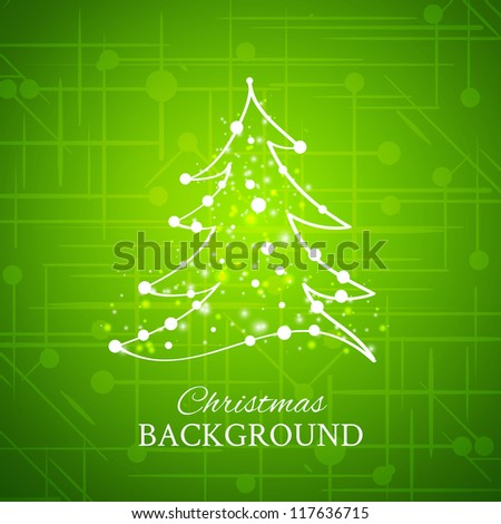 Simple sketch of glossy Christmas tree isolated on green background. Christmas tree shape in calligraphic style. Calligraphic christmas lettering. Vector illustration. - stock vector