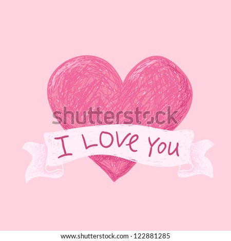 simple sketchy illustration of heart on ponk background with words I love you - stock vector