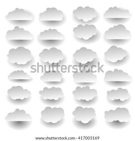 simple sky cloud icon set - stock vector