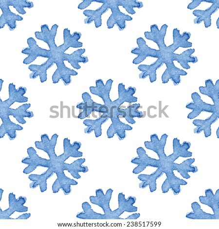 Simple snowflakes seamless pattern. Vectorized watercolor painting. - stock vector