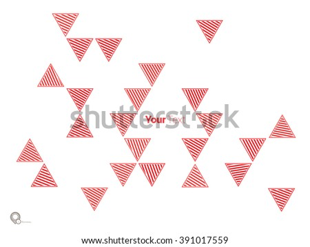 Simple Solid Red Color Triangles Wallpaper Design For Your Magazine Layout - stock vector