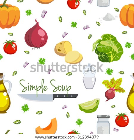 Simple soup food ingredients icons set seamless pattern vector illustration - stock vector