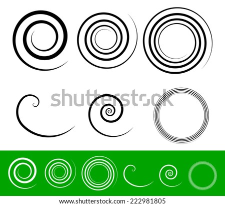 Simple spiral set with thick stroke profiles - stock vector