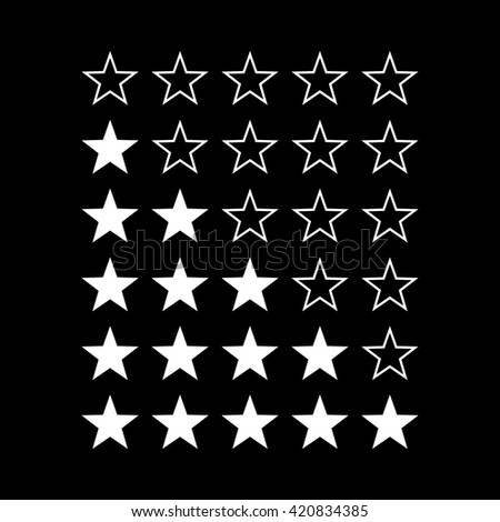 Simple Stars Rating. White Shapes on Black Background for Web Design - stock vector