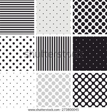 Simple striped and polka dots vector pattern set, seamless grey, black and white backgrounds - stock vector