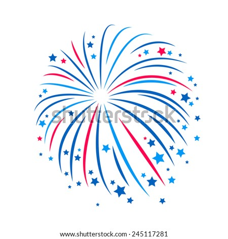 Simple style blue and red firework. Celebration decor element, national holiday, independence day. - stock vector