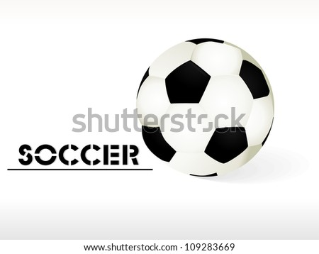Simple style football / soccer ball isolated on wave background - stock vector
