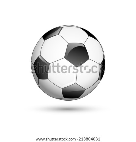 Simple style football / soccer ball isolated on white background - stock vector