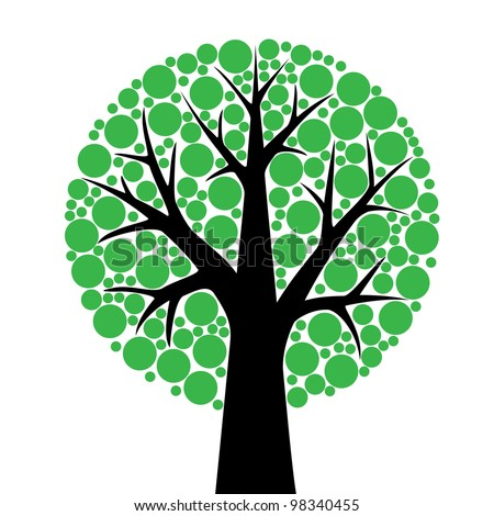 simple stylized tree with green leaves sliced on white background - stock vector