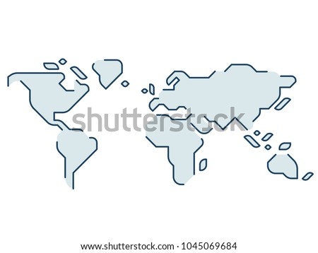 Simple stylized world map continents silhouette stock vector simple stylized world map continents silhouette in minimal line icon style isolated vector illustration gumiabroncs Images