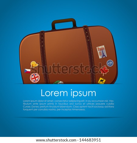 Simple summer card with suitcase in a pocket - stock vector