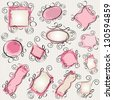 simple swirl doodle frames pack - stock vector