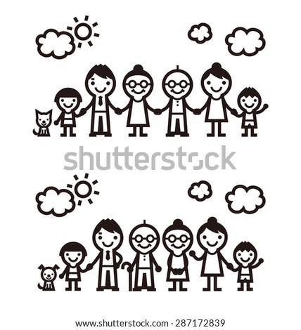 Simple symbolic family icon, vector illustration - stock vector