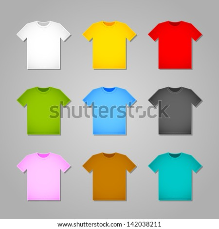 Simple T-shirt templates isolated on grey background