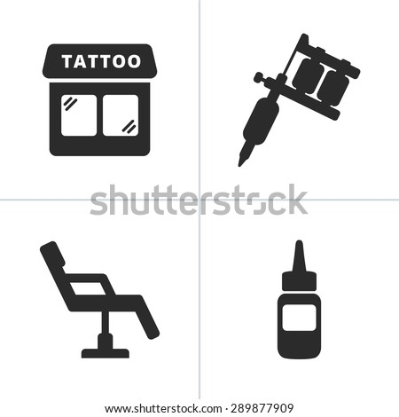 Simple tattoo icons including tattoo machine, shop, ink and chair - stock vector