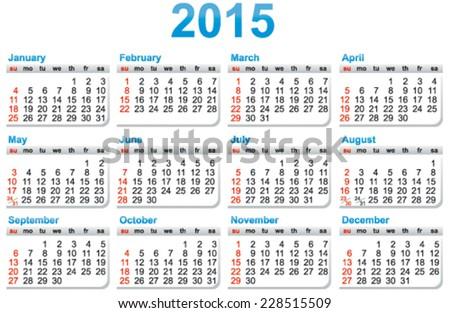 Simple template of a calendar 2015 year - stock vector