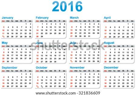 Simple template of a calendar 2016 year - stock vector