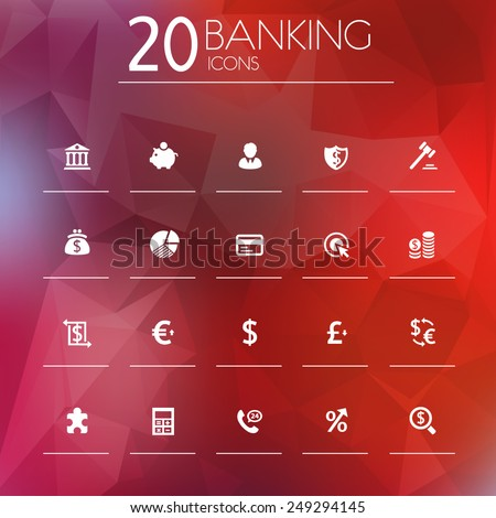 Simple thin banking icons on blurred background, 10 EPS - stock vector