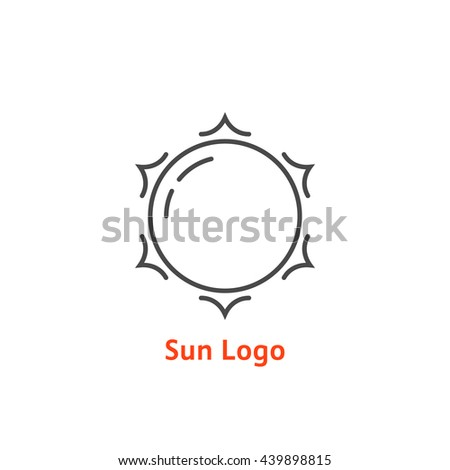 simple thin line sun logo. concept of glow, vacation, tourism, white light, tropical, spring horizon, sol, daystar. flat style trend modern brand design element vector illustration on white background - stock vector