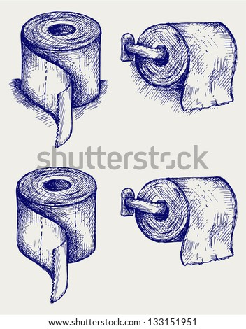 Simple toilet paper. Doodle style - stock vector