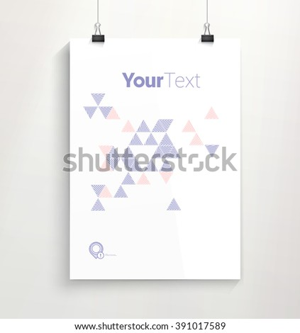 Simple Triangles Illustration on an A4 Paper Mock Up - stock vector