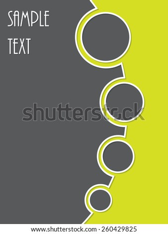 Simple two color brochure design with rings in gray green combination - stock vector