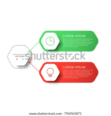 simple two steps design layout infographic template with hexagonal elements. business process diagram for brochure, banner, annual report and presentation