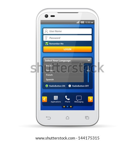 Simple UI Elements Blue Yellow. White Smartphone 480x800. Login Form, Button, Switchers, Radio Button, Slider, Drop-Down Box, Search, Icons. Web Design Elements. Software. Vector User Interface EPS10 - stock vector