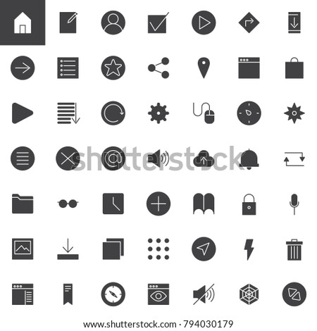 Simple universal web vector icons set, modern solid symbol collection, filled style pictogram pack. Essential signs, logo illustration. Set includes icons as home page, web browser, user profile, at