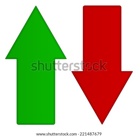 Simple up and down arrows. Upward, downward arrows in green and red - stock vector
