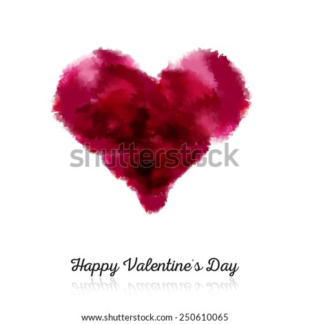 Simple Valentine's Day postcard with watercolor heart - stock vector